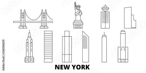United States, New York City flat travel skyline set Canvas Print