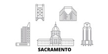 United States, Sacramento Flat Travel Skyline Set. United States, Sacramento Black City Vector Panorama, Illustration, Travel Sights, Landmarks, Streets.