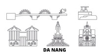 Vietnam, Da Nang Flat Travel Skyline Set. Vietnam, Da Nang Black City Vector Panorama, Illustration, Travel Sights, Landmarks, Streets.