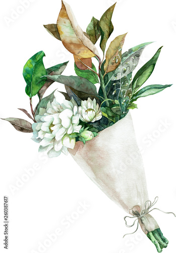 Watercolor bouquet of white flowers with green and yellow leaves in paper wrapping Fototapete