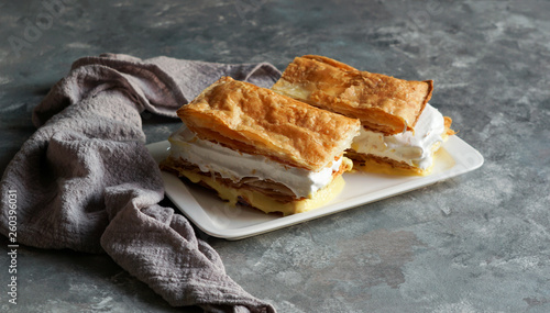 Obraz na plátne Costrada or millefeuille with - traditional dessert made with puff pastry, cream and custard