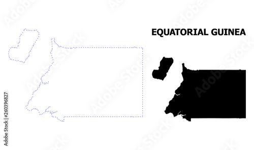 Pinturas sobre lienzo  Vector Contour Dotted Map of Equatorial Guinea with Caption