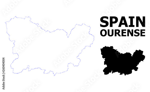 Vector Contour Dotted Map of Ourense Province with Caption
