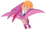 Fototapeta Dinusie - A girl riding dinosaur