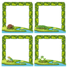 Set Of Animal In Nature Border