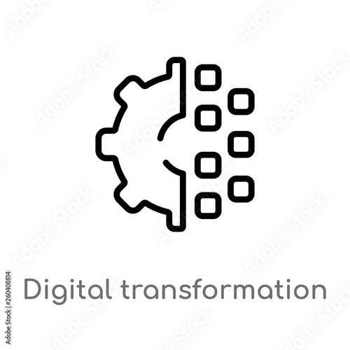 outline digital transformation vector icon  isolated black simple