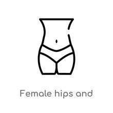 Outline Female Hips And Waist Vector Icon. Isolated Black Simple Line Element Illustration From Human Body Parts Concept. Editable Vector Stroke Female Hips And Waist Icon On White Background