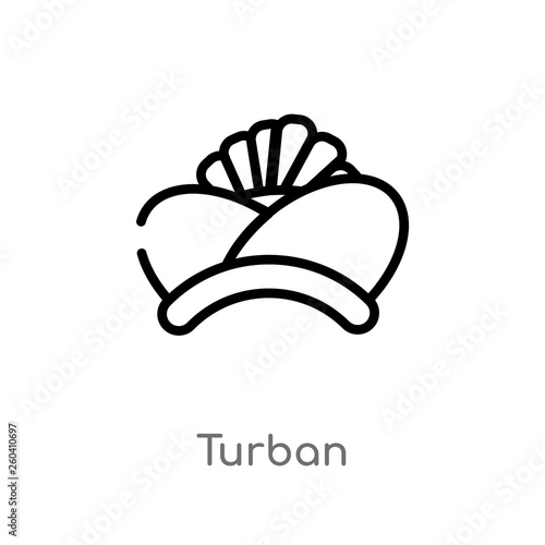 Valokuvatapetti outline turban vector icon