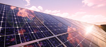 Colorful Panoramic Landscape: Solar Power Plants.  ( 3D Rendering Computer Digitally Generated Illustration.)