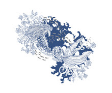 Hand Drawn Kelpie With Baroque...