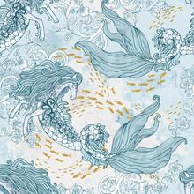 Artistic Sea Ocean Creatures Background In Monochrome Colors