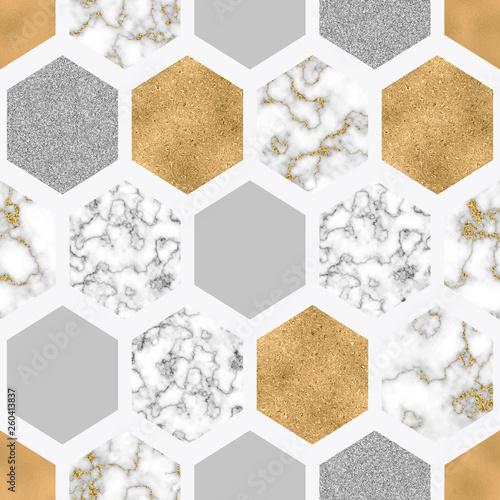 szesciokatny-wzor-z-cyfrowym-papierem-marmurowym-blyszczaca-zlota-folia-srebrnym-brokatem