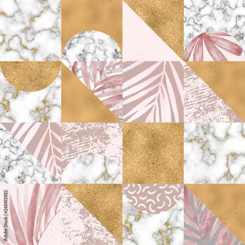 geometryczny-wzor-liscie-akwarela-zwrotnik-cyfrowy-papier-marmurowy-zlota-folia-pastelowe-grunge-tekstur