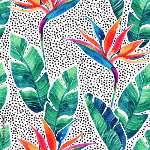 Poster de jardin Empreintes Graphiques Floral exotic seamless pattern. Watercolor tropical flowers on doodle background