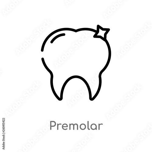 outline premolar vector icon  isolated black simple line