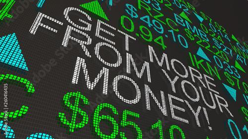 Fotografía  Get More For Your Money Stock Market Ticker 3d Illustration