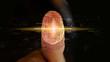 canvas print picture Businessman login with fingerprint scanning technology. Security system concept