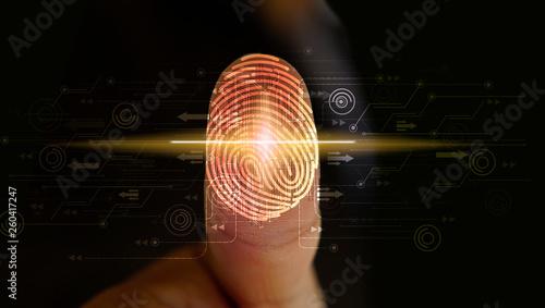 Carta da parati Businessman login with fingerprint scanning technology