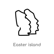 Outline Easter Island Vector Icon. Isolated Black Simple Line Element Illustration From Monuments Concept. Editable Vector Stroke Easter Island Icon On White Background