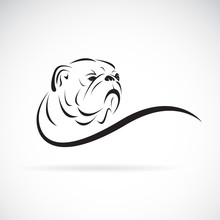 Vector Of Bulldog Head Design On White Background. Pet. Animals. Dog Logo Or Icon. Easy Editable Layered Vector Illustration.