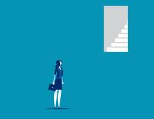 Businesswoman Look Door Too Up...