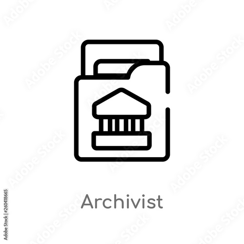 outline archivist vector icon Wallpaper Mural