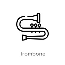 Outline Trombone Vector Icon. Isolated Black Simple Line Element Illustration From Music Concept. Editable Vector Stroke Trombone Icon On White Background