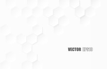 Abstract. Hexagon Paper Geometric. White Background ,light And Shadow .Vector.