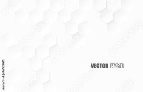 Obraz Abstract. Hexagon paper geometric. white Background ,light and shadow .Vector. - fototapety do salonu