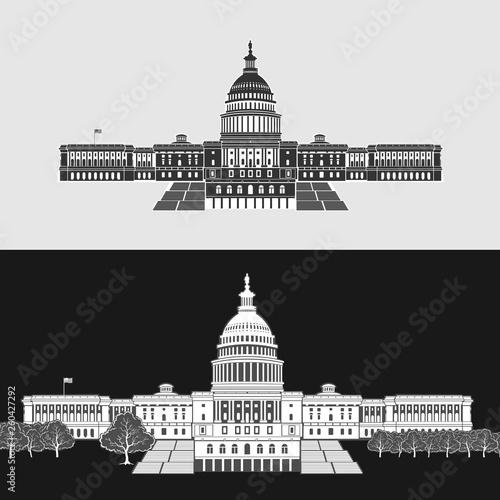 Leinwand Poster Vector Illustration of Washington Capitol Symbol
