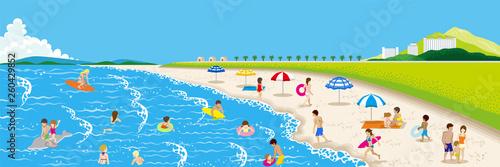 Canvas Summer beach landscape, people enjoying sea bathing - copy space