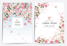 Vector Illustration Of A Beautiful Floral Frame Set With Cherry Blossom In Spring For Wedding, Anniversary, Birthday And Party. Design For Banner, Poster, Card, Invitation And Scrapbook