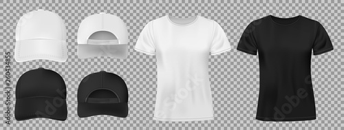 Obraz Set of sports wear template. Black and white baseball cap and t-shirt mockup, front and back view. vector illustration - fototapety do salonu