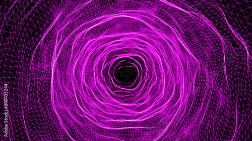 3D illustration rendering futuristic purple grid wire mesh tunnel, cyber data network technology concept.