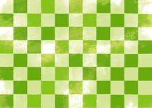 緑色の和風パターン