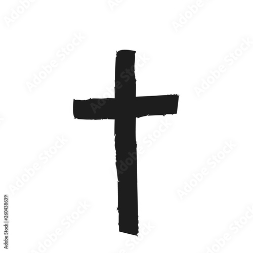 Hand drawn black grunge cross icon, simple Christian cross sign, hand-painted cross symbol created with real ink brush isolated on white background Fototapete