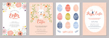 Vector Easter Party Invitations And Greeting Cards With Eggs, Flowers And Typographic Design On The Textured Background.