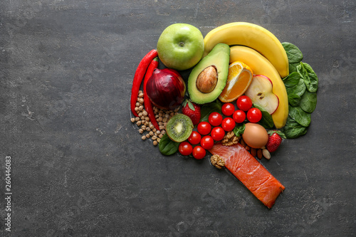 Fotografía  Different healthy products for brain on grey background