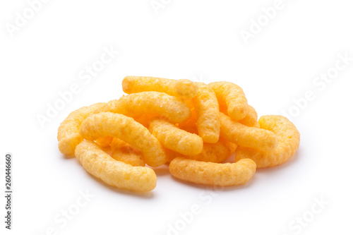 Valokuva Pile of cheese puffs isolated on a white background