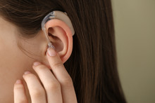 Woman With Hearing Aid, Closeup
