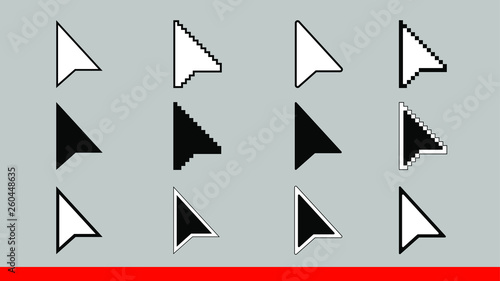 12 black and white arrow pixel and no pixel mouse cursors