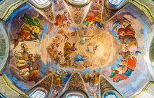 Colorful Religious Painting On The Ceiling Of The Basilica Of Saint James, San Giacomo In Augusta, Rome, Italy