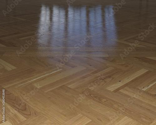 pavimento di parquet con riflesso in legno lucido Canvas-taulu