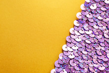 Iridescent Sequins On Color Background