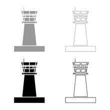 Airport Control Tower Control Tower Air Traffic Icon Set Black Color Vector Illustration Flat Style Image