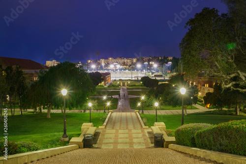 Valokuvatapetti Aerial night view of UCLA campus
