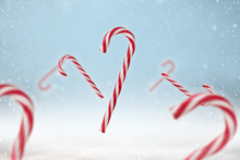 Red And White Candy Cane On A ...