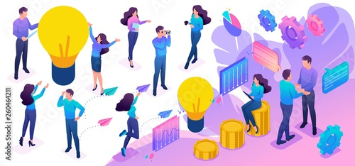 Isometric Set of Young People to Create Bright