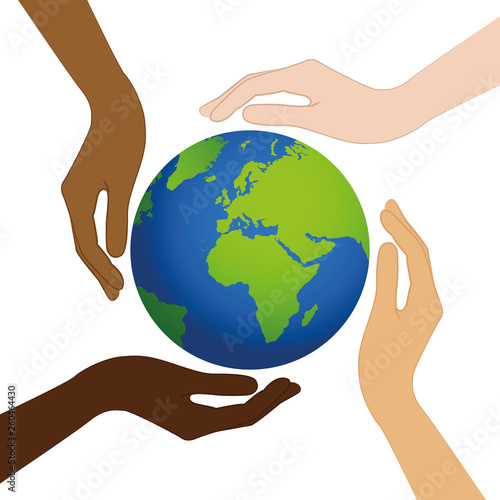 Fotografie, Tablou  planet earth in the middle of human hands with different skin colors vector illu