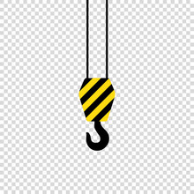 Crane Hook On Empty Background Black Yeloow